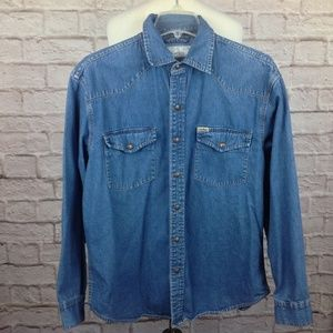 Vintage Levis Shirt Men Medium Western Denim Jean